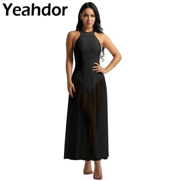 Women Ladies Sleeveless Dress Mock Neck Leotard Bodysuit Ballet Dance Dress with Mesh Maxi Skirt Lyrical Gymnastic Leotard
