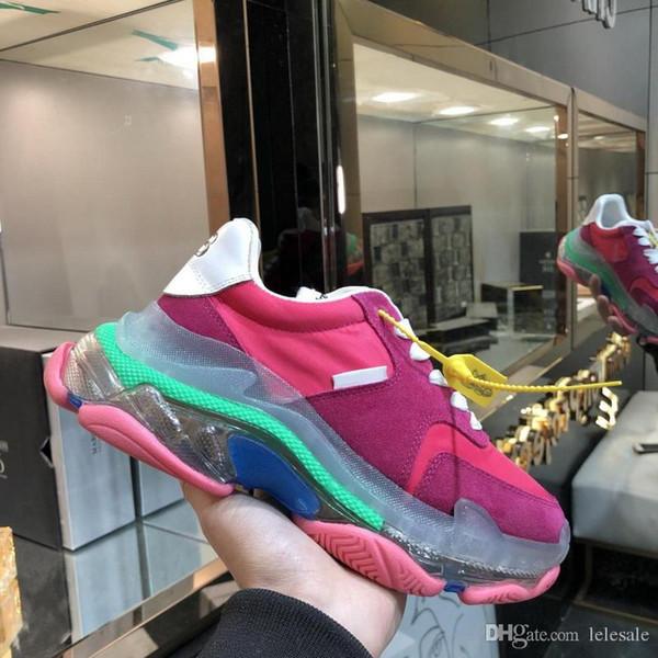Nouveaux 2019 Marque Hommes Femmes Plate-forme Sneakers, Designer Shoes Dad Rose Violet Patchwork Chaussures causales fond transparent en cuir 35-45