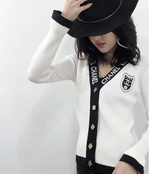 new spring womens letters jacket V-Neck female designer kintwear 2019 hot sale outwear cardigan coats