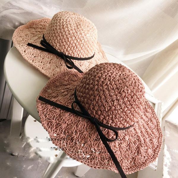 Breite Krempe Hüte Handmade Grass Braid Caps für Frauen Sommer Sonnencreme Strandhüte Mode Bowknot