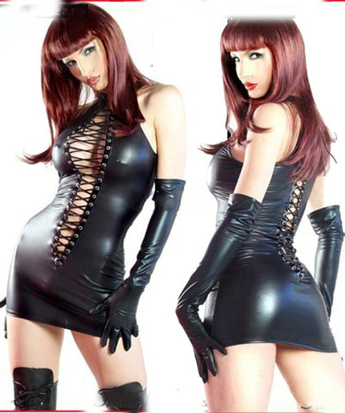 Promotion SEXY Lingerie Black PVC SEXY O Rings Catsuit Clubwear Underwear Dress Outfits Fancy Dress 710 One Size 8--12 Leotards