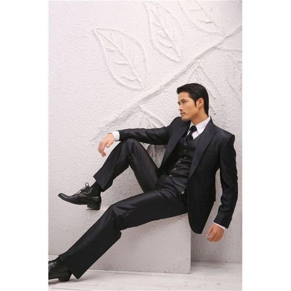 Groom Tuxedo costume homme Shiny Black Groomsmen Peak Lapel Wedding mens Suits 2019 Best Bridegroom men suit (Jacket+Pants+Vest)
