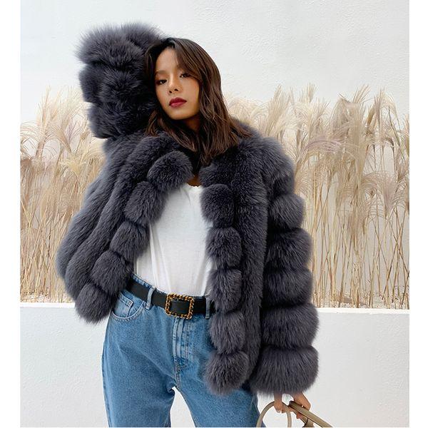 Fandy Lokar Faux Fuchspelz Taschen Mantel Frauen Mode Stehkragen Pelzjacke Frauen Casual Langarm Jacke Weibliche Damen GX