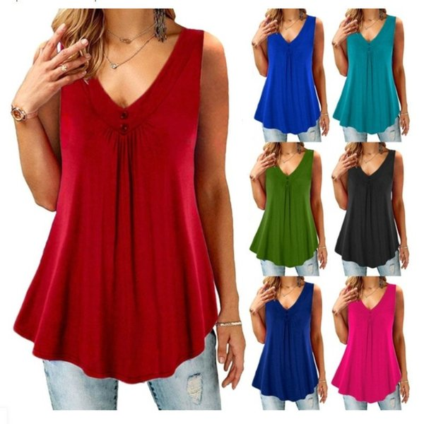 New Arrived Women Sleeveless T-shirt V-Neck Casual Loose Solid T-shirt Blouse Women Plus Size Clothes Top Vest 5XL 4XL 3XL 2XL XL L M S