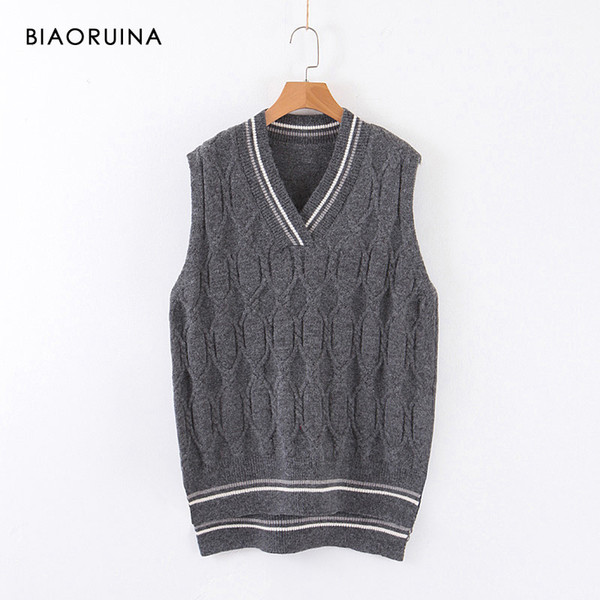 BIAORUINA Women's Korean Style Sleeveless Winding Stipes Knitted Sweater Female Casual Loose V-neck Vest Pullover One Size