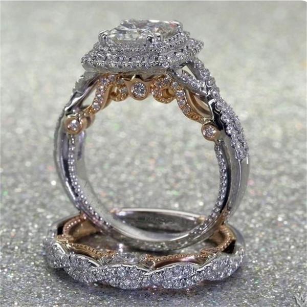 New Wedding Rings For Women 2PCS/Set Two-tone Color 14K Gold White Gold Square Gemstone Shining Rhinestone Zircon Ring Sets SJ