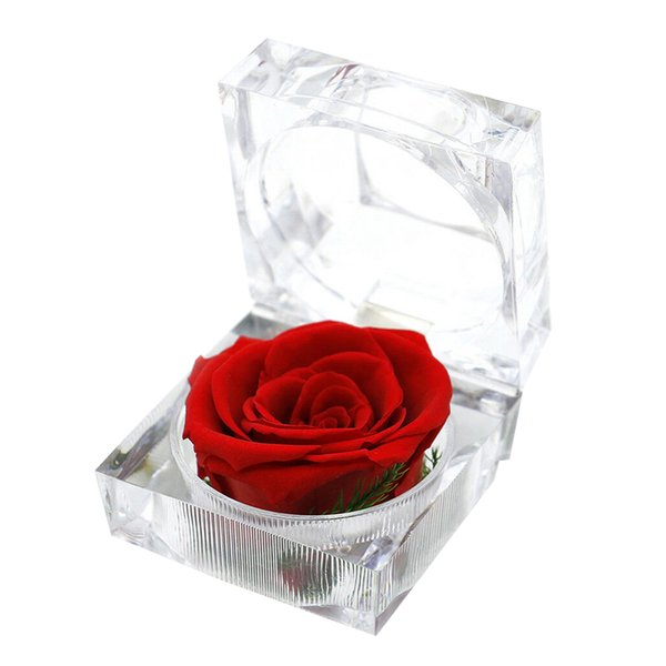 Immortal Preserved Fresh Flower Rose Ring Box Eternal Wedding Valentine'S Romantic Gifts Packing Crystal Box