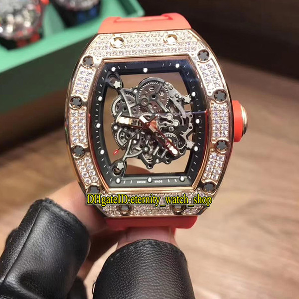 19 Color Best version RM055 Skeleton Dial Japan Miyota Automatic RM 055 Mens Watch Rose Gold Diamonds Case Red Rubber Strap Sport Watches