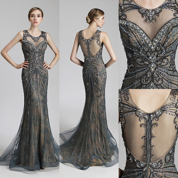 Real Picture Luxury Beading Long Mermaid Celebrity Dresses Vintage Steel Tulle Party Dress Women Fashion Red Carpet Gowns 2019