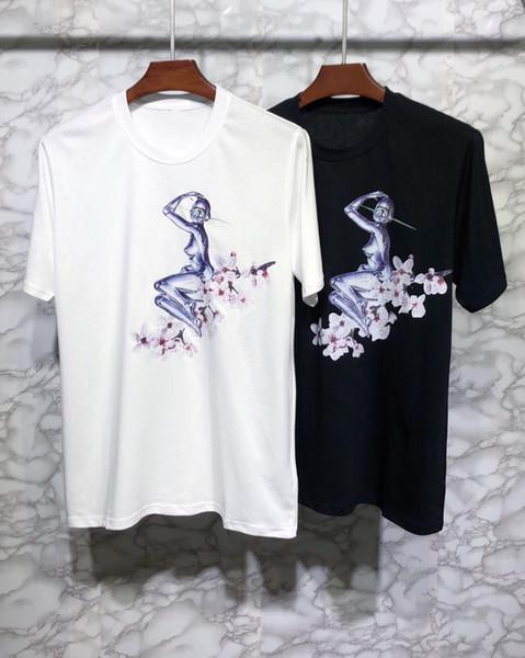 Paris marque vêtements mens designer t chemises à col rond manches courtes 000 femmes t shirts femme tshirt impression haute qualité coton 2019 été