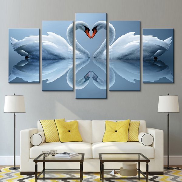 Oil Painting Home Decor Modular Picture 5 Panel White Swan Couples HD Canvas Framework Wall Art Prints Poster For Living Room