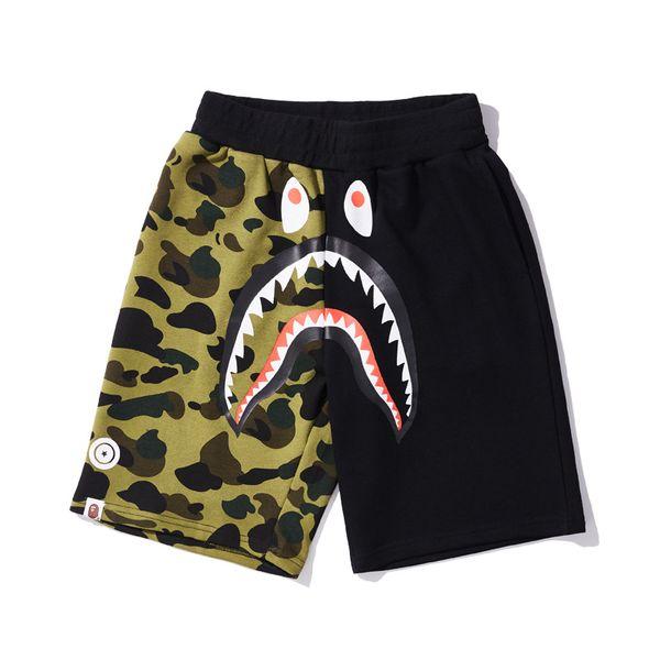 top popular Ape shorts AApe Japan Shark Jaw Camo Splicing Beach Shorts mens designers Pants Off Apes head pants White a bathing for men vetements 2019