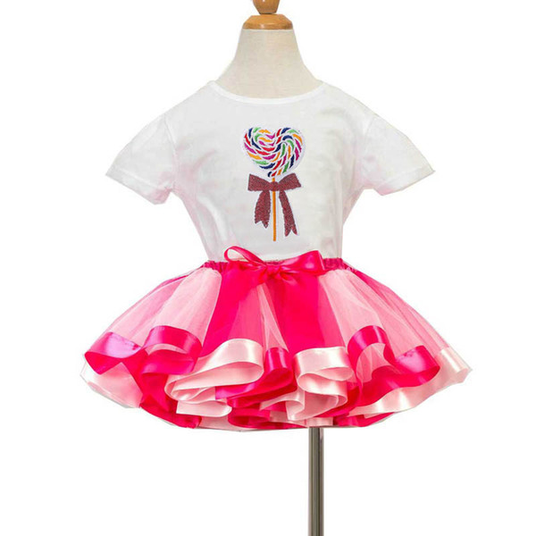 2019 new rainbow girls suits Cartoon birthday party girls outfits kids summer clothes girls clothes T shirt+Tutu skirts kids sets A5560
