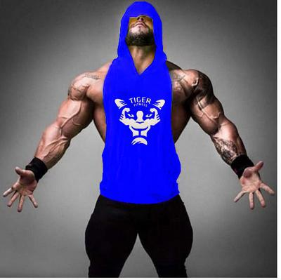 2019 GYM TIGER pattern Gyms Hot Men Gym Clothing Bodybuilding Stringer Hoodie Tank Top Muscle hooded Shirt