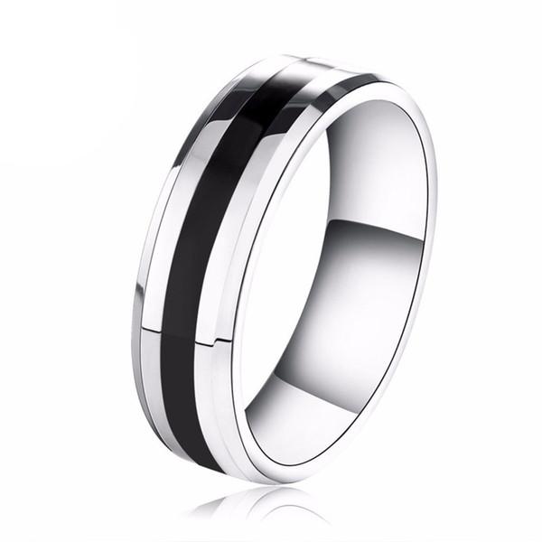 6MM Mens titanium anelli in acciaio inox Wedding Band spessore nero linea placcato carburo di tungsteno anello Us Size (5-13)