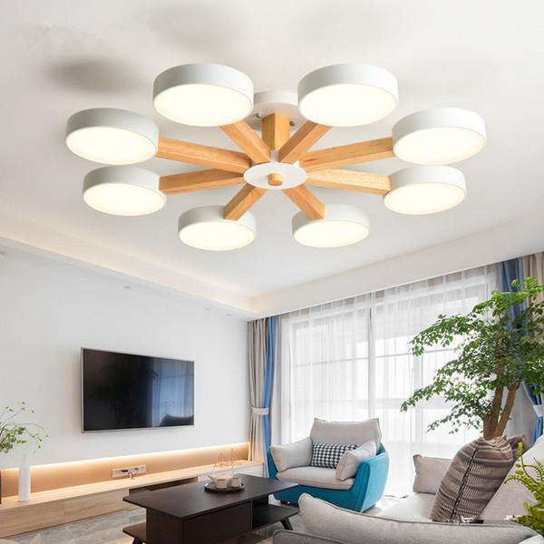 Acheter 220V LED Lustre Pour Salon Moderne Blanc Éclat Chambre En Bois  D\'éclairage Surface Simple Mounted Lustres Droplight De $98.5 Du Jess135 |  ...