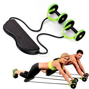 Ruedas dobles Rodillos Ab Equipo para hacer ejercicios en el hogar Núcleo Tirar de la cuerda Entrenador abdominal para adelgazar la cintura abdominal LJJV256