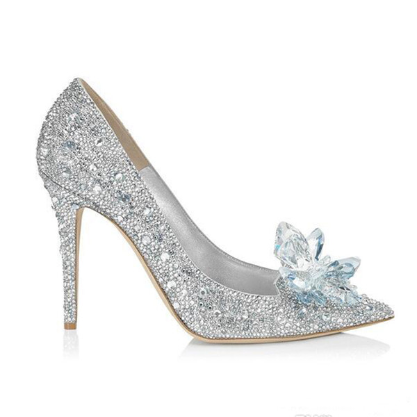 Cinderella Crystal Wedding Shoes High Heeled Women Stunning Glasses Bling Silver Rhinestone Bridal Wedding Shoes Women Prom Party Wear