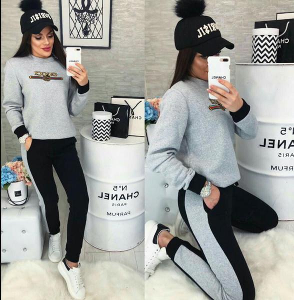 Frühling Herbst Frauen Pullover Hoodies und Hosen mit Kapuze Trainingsanzüge gedruckt Brief lässig zweiteilige Sets Outfit Sportanzüge Jogging-Sets