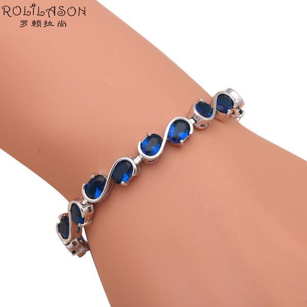DIY Party Items Royal Blue Zirkonia Armbänder für Frauen Versilbert Großhandel Einzelhandel Kristall Modeschmuck TB868