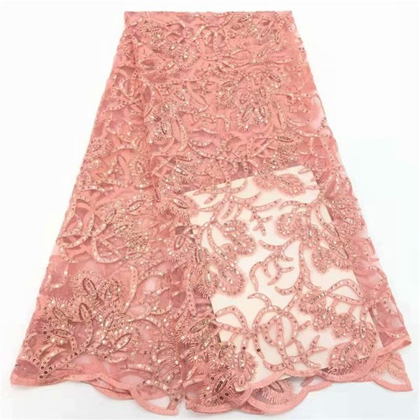 High Quality African Lace Fabric 2019 Latest African Guipure Lace Light Pink Color Nigerian Guipure Lace Fabric With Sequins