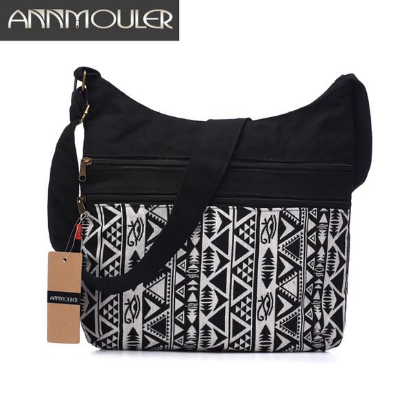 Annmouler Women Cotton Fabric Shoulder Bag Gypsy Bohemian Hobo Bag Chic Hippie Aztec Folk Tribal Woven Crossbody Messenger Bag Y19061705