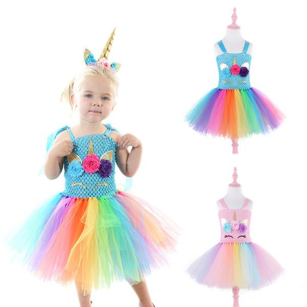 Unicorn kızlar için elbiseler 2 renkler Parti Prenses Elbise Kız Dantel TUTU elbise çocuklar giysi tasarımcısı kızlar abiye JY59