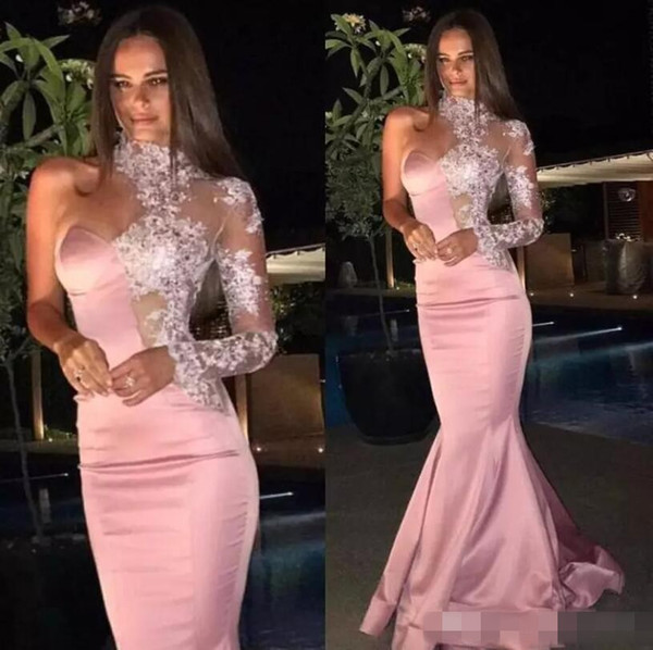 Formal Mermaid Rose Gold Evening Dresses 2019 Sexy Lace High Neck Sheer One Shoulder Long Sleeve Prom Gown Custom Red Carpet Celebrity Dres