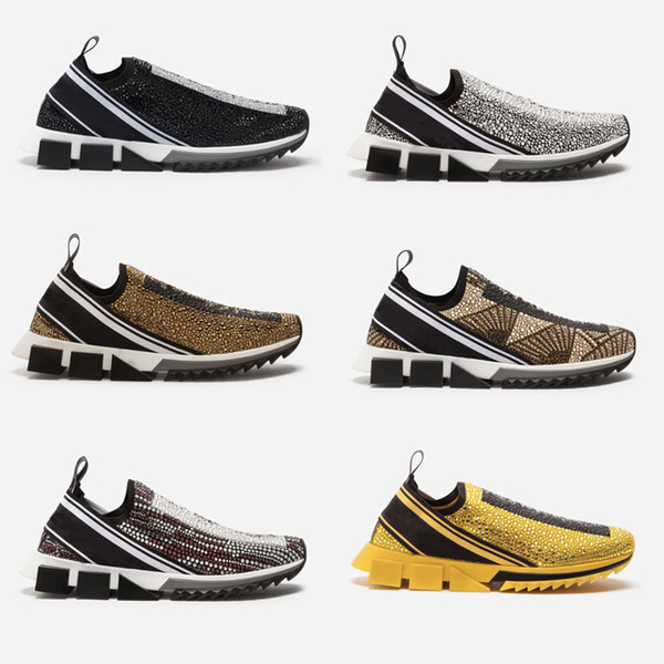 Дизайнерские женские кроссовки sorrento со стразами из кристаллов Мужские кроссовки из стрейч-сетки черный белый с блестками Runner Flat Trainers US5-12