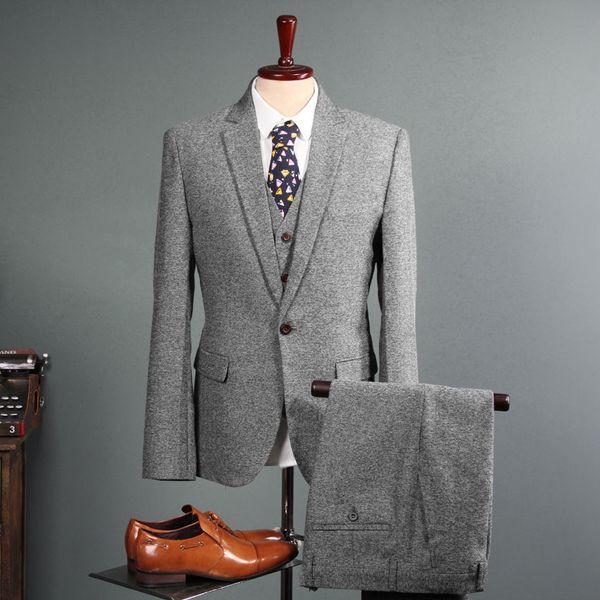 NEW Men's Vintage Suit 3 Pieces Tweed 2019 Fleck Button Wool Gray Custom Tailored Fit Groom Tuxedos Jacket Pants Vest
