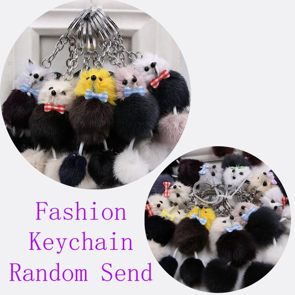 Random Send Pompoms Fox Fur Fluffy Poodle Trinket Keyrings Lover Pendants Girls Keys Rings Key Chains Popular Pocket Bag Car Keychain M250F