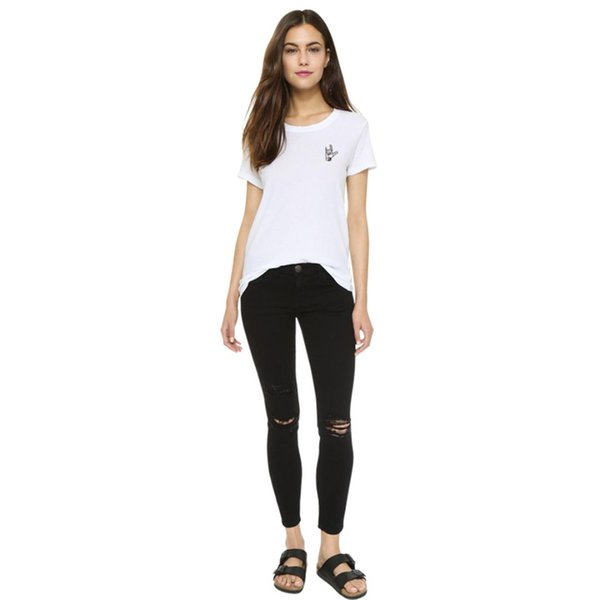 Classic White Love Gesture Tees T shirts for Women Female Summer O Neck 2XL 3XL 4XL Plus Size Loose T-shirts Cotton Tops