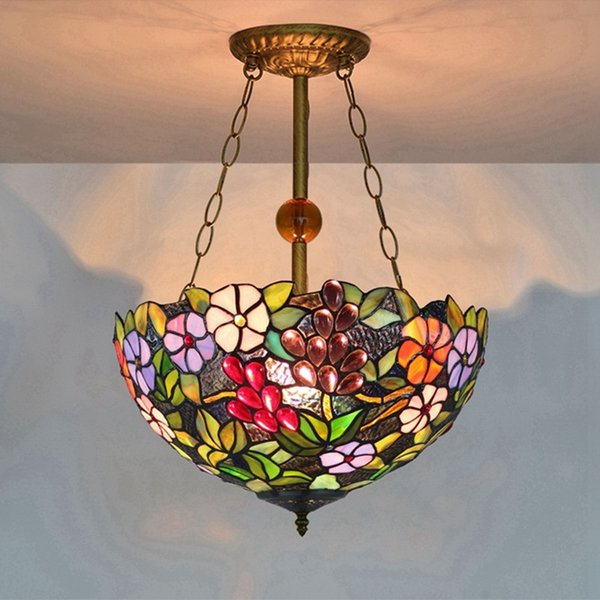Stained Glass Hanging Lamp.16 Inch Tiffany Pendant Lights Grapes Flowers Led Stained Glass Pendant Lamp Suspension Luminaire Color Glass Dinning Room Hang Lamp Drum Pendant