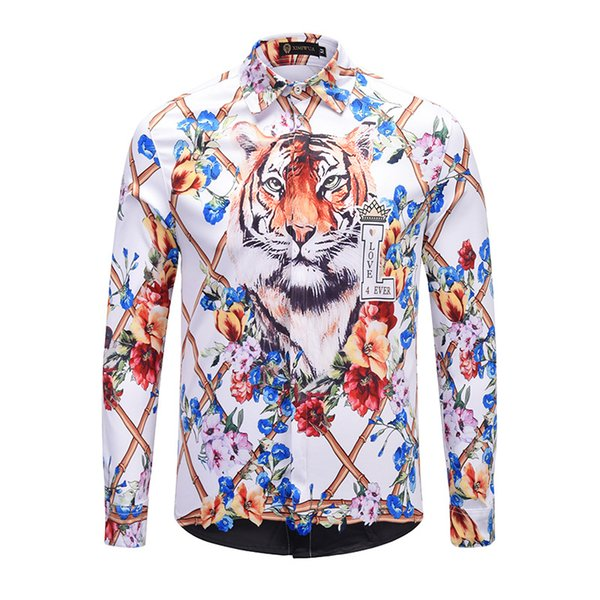 Brand New Men's Dress Shirts Fashion Harajuku Casual Shirt Men Luxury Medusa Fancy 3D Slim Fit Shirts White Good Quality