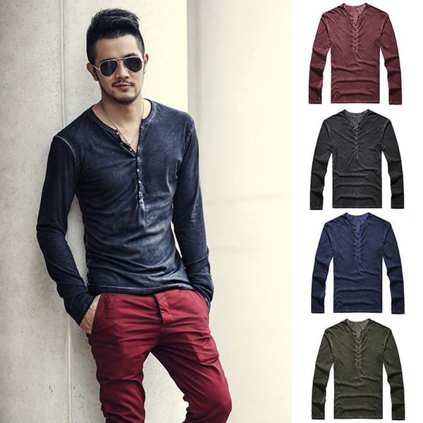 Men V neck T Shirt Long Sleeve Tee Solid Color Plus Size T Shirts Retail Tees Polos Shirts Streetwear S M L XL 2XL 3XL Casual Tshirt 2019