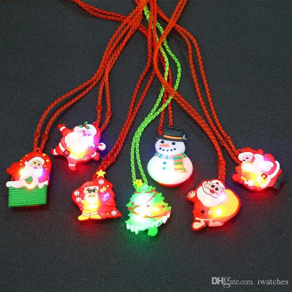 LED de Noël Collier enfant lueur Halloween clignotant collier lumineux jouets pour enfants pendentif personnalité créative petits cadeaux