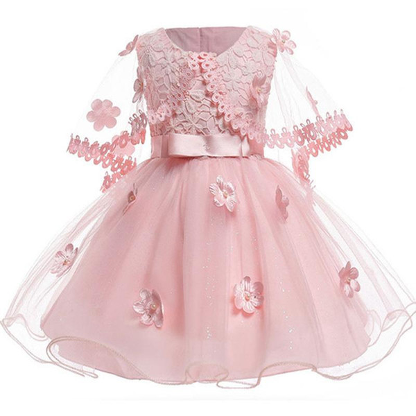Pink Short Flower Girls Dresses With Wraps 3D Appliques Little Girl Dresses For Wedding Tulle Puffy Kids Communion Dress