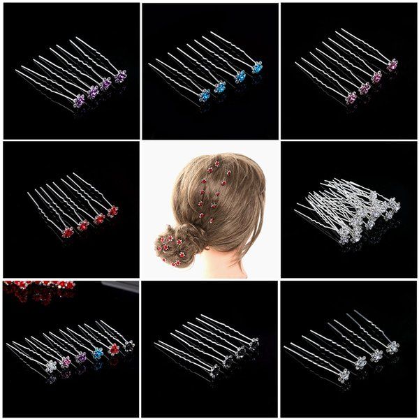 20Pcs/Lot Chic Women Wedding Bridal Crystal Rhinestone Rose Flower Hairpins Hair Clips Hair Accessories Jewelry High Quality