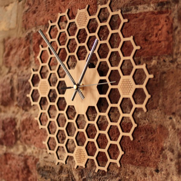 Home Decor Contemporary Bamboo Bee Wall Clock Minimalist Durable Quartz Non Ticking Gift Silent Sweep Hexagonal Honeycomb