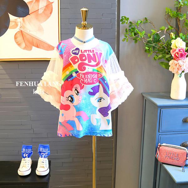 Retail 2019 Baby Girls Unicorn Dress Fashion Cartoon Printed Tshirt Princess Dresses Summer Flare Sleeve Casual Dress Kids boutique clothing