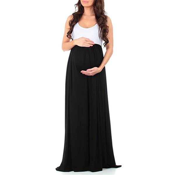 Tripulação Pescoço Patchwork Solto Mulheres Sólidas Vestido De Algodão Mistura Longa Casual Gravidez Sem Mangas Maxi Maternidade de Verão Diária