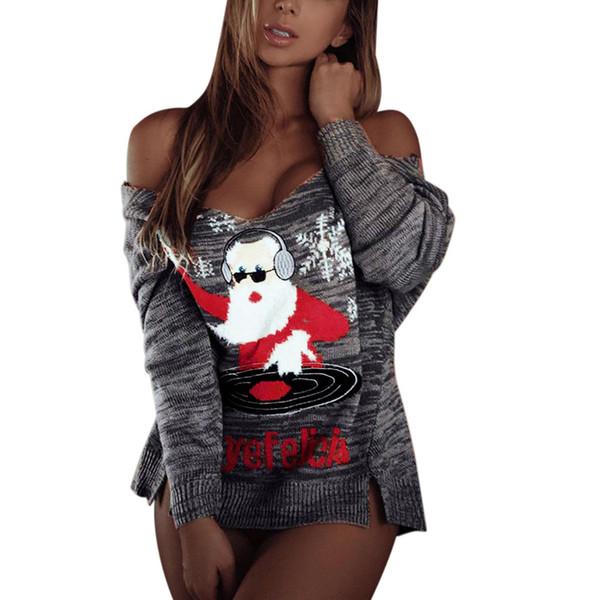 Pull Femmes D'hiver Vêtements Pull Femmes Sexy À Manches Longues Col En V De Noël Imprimer Tricot Tops Casaco Feminino