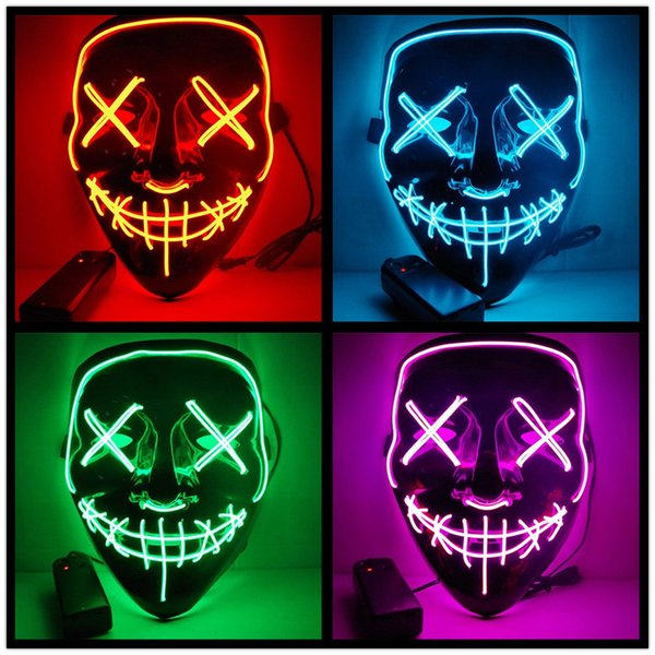 LED Light up Mask Party V for Vendetta Masks Anonymous Guy Fawkes Fancy Dress Adult Costume Accessory Party Cosplay EL Wire Glowing mask