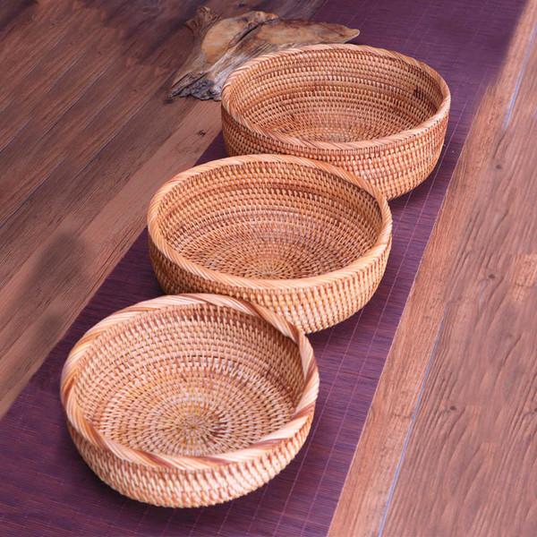 Panier de rangement rond fruits plat rotin tissage fait à la main pour cuisine cuisine pique-nique pain divers cadeaux Décor conteneur organisateur Q190618