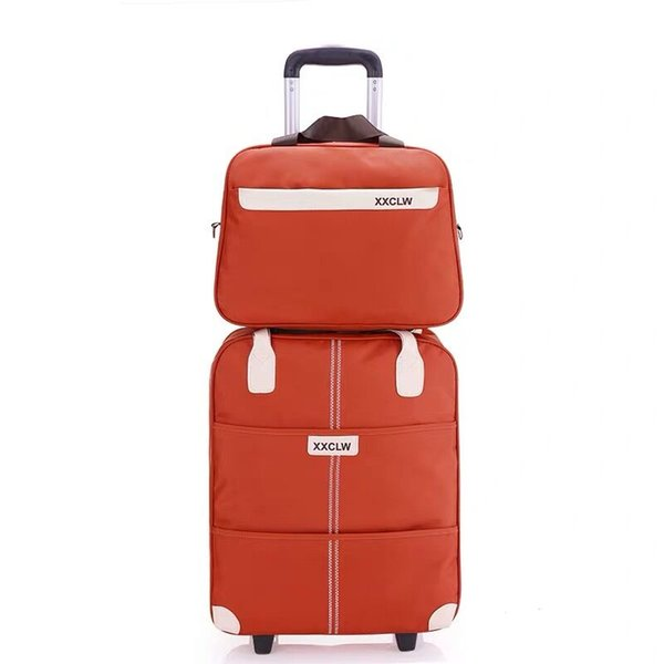 Women Simple luggage series 18 20 inch Oxford cloth Handbag and Rolling Luggage Men carry on brand Travel Bag Trolley Suitcase