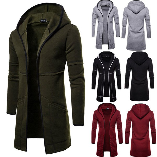 Mens New Style Automne manteau d'hiver chaud Trench New Mode longue Pardessus Casual solide Outwear Cardigan
