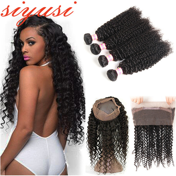 360 Full Lace Frontal Closure Curly With 3 Bundles 360 Lace Frontal Closure With Bundles Brazilian Human Hair Lace Frontal With Bundle