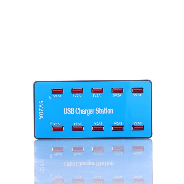 10 Port Fast Travel USB Charging Station High Power Intelligent Universal Power Charging Station Dock for Party Event Office Hotel School