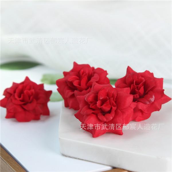 Artificial Lint Rose Flower Head Wedding Fabric Accessories Floral Wreath Make Bridal Hair Clips Headbands Dress Album Embellishment Decor