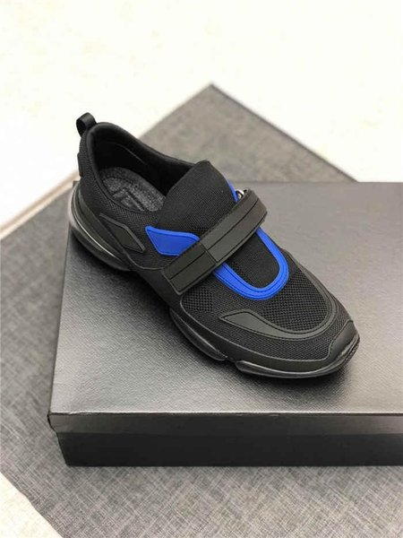 The latest Cloudbust Sneakers Mens Fashion Boots with Strap, Oversized Sneaker in Rubber Patch Classic Black Bule Whites With Box